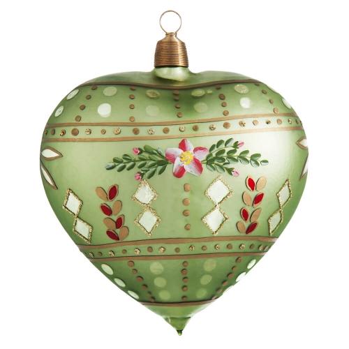 Herz Lindgrün mit Blütenmuster