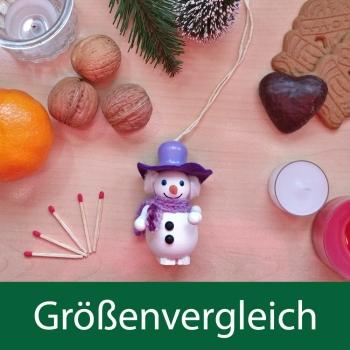 Holzfigur Schneemann mit lila Hut