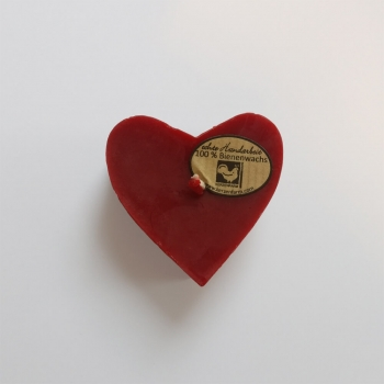 Kerze in Herzform aus Bienenwachs, Farbe Rot