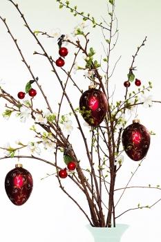 Großes Ei Blütenranke Burgund matt